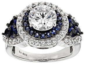 Pre-Owned White Cubic Zirconia And Lab Created Sapphire Silver Ring 5.68ctw