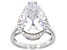 Pre-Owned White Cubic Zirconia Rhodium Over Sterling Silver Ring 12.75ctw