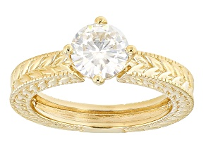 Pre-Owned Moissanite Ring 14k Yellow Gold Over Silver 1.20ct DEW