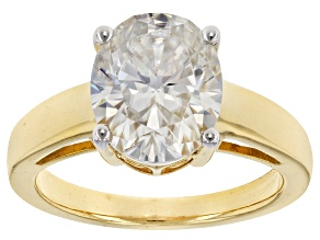 Pre-Owned Moissanite Fire® 4.20ct DEW Oval 14k Yellow Gold Over Sterling Silver Ring
