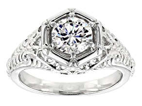 Pre-Owned Moissanite Fire® 1.00ct Diamond Equivalent Weight Round Platineve™ Ring