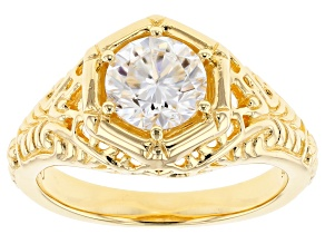 Pre-Owned Moissanite 14k Yellow Gold Over Silver Ring 1.00ct DEW