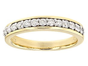 Pre-Owned .45ct 2mm White Moissanite 14k Yellow Gold Over .925 Sterling Silver Band Ring