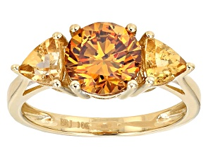 Pre-Owned Tangerine  Fabulite Strontium Titanate 10k Yellow Gold Ring 3.46ctw