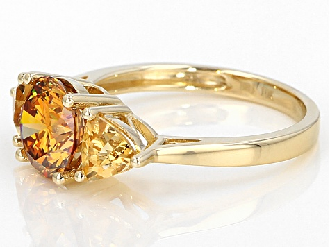 Pre-Owned Tangerine  Fabulite Strontium Titanate 10k Yellow Gold Ring 3.46ctw