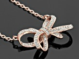 Pre-Owned White Diamond 14k Rose Gold Over Sterling Silver Necklace .22ctw