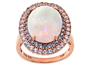 Pre-Owned White Synthetic Opal And Blue Cubic Zirconia 19k Rose Gold Over Silver Ring 4.98ctw