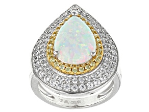 Pre-Owned Synthetic Opal, White And Yellow Cubic Zirconia Rhodium Over Sterling Ring 3.91ctw