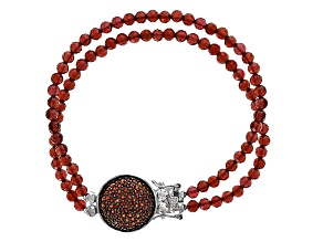 Pre-Owned Red Garnet Double Strand Sterling Silver Bracelet 48.30ctw.