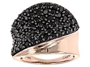 Pre-Owned black spinel 18k rose gold over sterling silver ring 2.96ctw