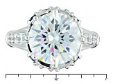 Pre-Owned Blue And White Cubic Zirconia Rhodium Over Sterling Silver Ring 14.28ctw