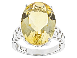 Pre-Owned Yellow Citrine Sterling Silver Ring 15.00ct