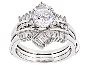 Pre-Owned Bella Luce ® 2.45ctw Rhodium Over Sterling Silver Ring With Guard