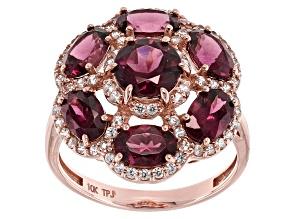 Pre-Owned Grape Color Garnet 10k Rose Gold Ring 3.94ctw