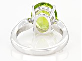 Pre-Owned Green Peridot Sterling Silver Solitaire Ring 4.50ct