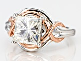 Pre-Owned Moissanite Fire® 3.10ctw DEW Platineve™ And 14k Rose Gold Platineve Ring