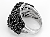 Pre-Owned Black Spinel Sterling Silver Ring 5.00ctw