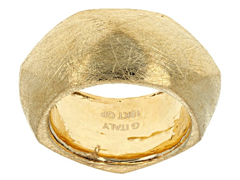 Pre-Owned 18k Yellow Gold Over Bronze Satin Brush Finish Ring
