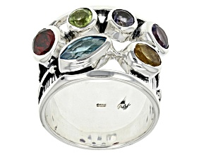 Pre-Owned Multi Gemstone Sterling Silver Ring 2.18ctw