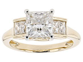 Pre-Owned Moissanite Fire® 2.16ctw DEW Princess Cut And Baguette 14k Yellow Gold Over Silver Ring