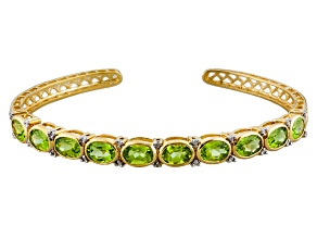 Pre-Owned Green Peridot 14k Gold Over Sterling Silver Bangle  8.01ctw