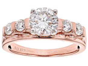 Pre-Owned Moissanite Fire® 1.60ctw Diamond Equivalent Weight Round 14k Rose Gold Over Sterling Silve