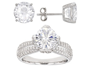 Pre-Owned White Cubic Zirconia Rhodium Over Sterling Silver Ring And Earrings 11.59ctw