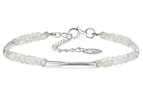 Pre-Owned White Rainbow Moonstone Sterling Silver Bracelet 6.80ctw
