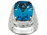 Pre-Owned Blue Lab Created Spinel And White Cubic Zirconia Silver Ring 14.84ctw