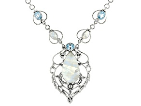 Pre-Owned White Moonstone Silver Necklace 12.48ctw