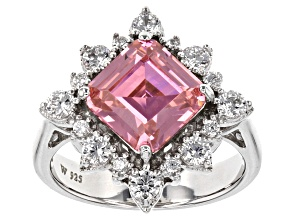 Pre-Owned Pink And White Cubic Zirconia Rhodium Over Sterling Silver Ring 6.60ctw