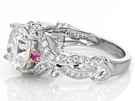 Pre-Owned Moissanite Fire™ 3.30ctw DEW With .08ctw Pink Sapphire Platineve™ Ring