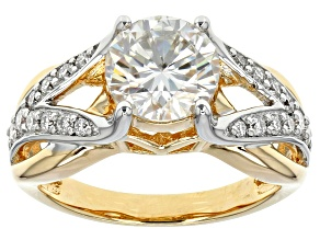 Pre-Owned Moissanite Fire® 2.30ctw DEW Platineve™ And 14k Yellow Gold Platineve Ring