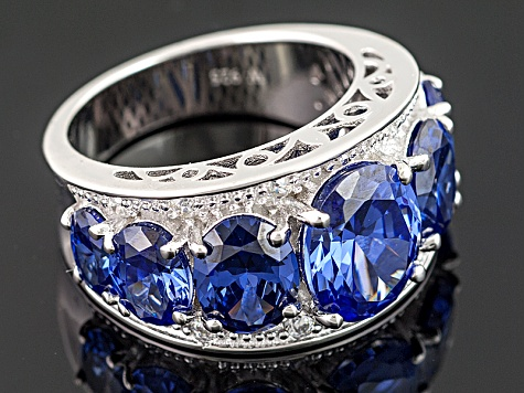 Pre-Owned Blue And White Cubic Zirconia Silver Ring 12.88ctw