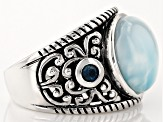Pre-Owned Blue Larimar Sterling Silver Ring. .23ctw