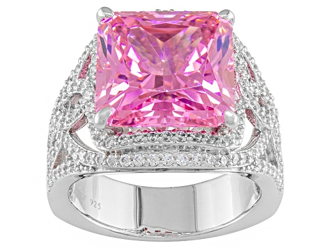Pre-Owned Pink And White Cubic Zirconia Sterling Silver Ring 17.04ctw