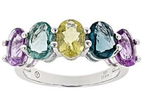 Pre-Owned Multi Fluorite Rhodium Over Sterling Silver Ring 5.00ctw