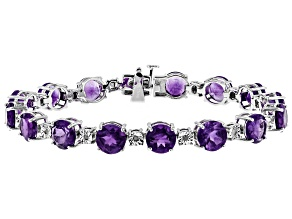 Pre-Owned Purple African Amethyst Rhodium Over Sterling Silver Bracelet 23.36ctw