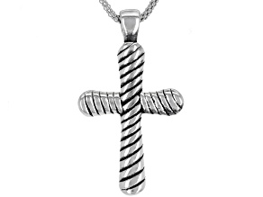 Pre-Owned Oxidized Sterling Silver Etched Cross Pendant With 18 Inch Popcorn Chain