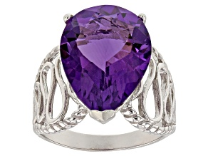 Pre-Owned Purple African Amethyst Rhodium Over Sterling Silver Solitaire Ring 13.00ct