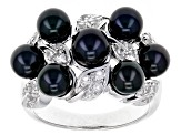 Pre-Owned Cultured Freshwater Pearl And White Topaz Rhodium Over Sterling Silver Ring