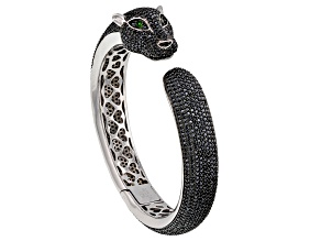 Pre-Owned Black Spinel Rhodium Over Sterling Silver Panther Bangle Bracelet 14.39ctw