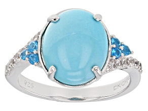 Pre-Owned Blue Sleeping Beauty Turquoise Sterling Silver Ring .35ctw