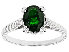 Pre-Owned Green Russian Chrome Diopside Rhodium Over Sterling Silver Solitaire Ring 1.50ct