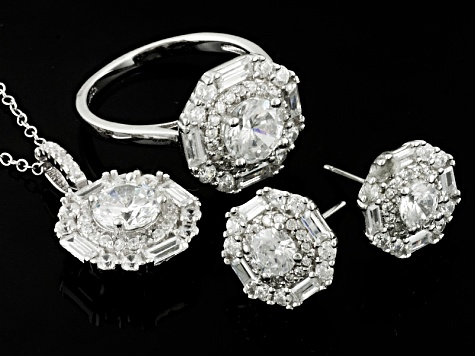 Pre-Owned Cubic Zirconia Sterling Silver Earrings, Pendant, And Ring 12.71ctw