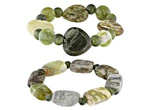 Pre-Owned Green Connemara Marble Stretch 2 Bracelet Set