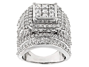 Pre-Owned white cubic zirconia rhodium over sterling silver ring