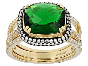 Pre-Owned Green And White Cubic Zirconia 18k Yg Over Sterling Silver Ring With Bands 4.46ctw