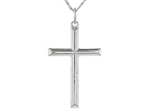 Pre-Owned Sterling Silver Cross Pendant With Figaro Chain 20 inch