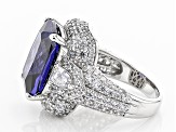 Pre-Owned Blue And White Cubic Zirconia Rhodium Over Sterling Silver Ring 19.00ctw